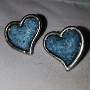 Blue jeans and antique silver heart earrings